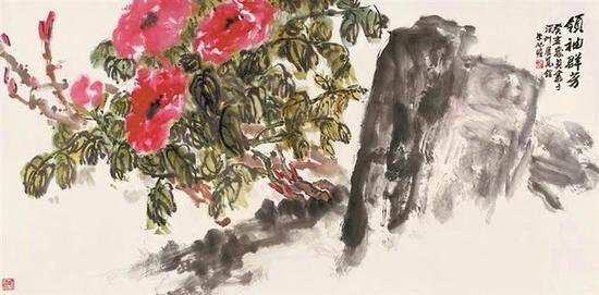 朱屺瞻《领袖群芳》 67cm×136cm 纸本水墨 1983年