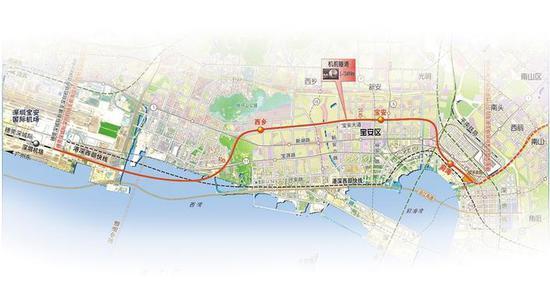 穗莞深城际规划线路图深圳机场至前海段。
