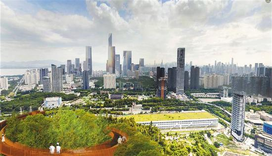 从竹子林山海连廊眺望城市美景。