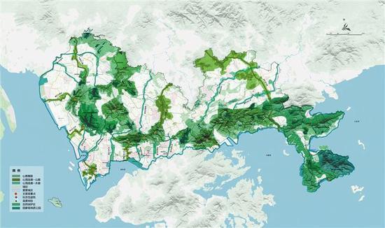 山海连城空间布局规划示意图。