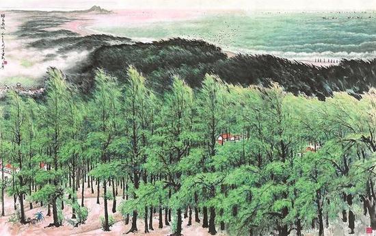 关山月美术馆线上展出作品《绿色长城》(关山月) 横披 纸本设色