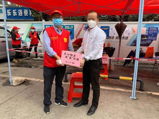 榕亨集团为南岭村社区检疫站送上捐赠物资