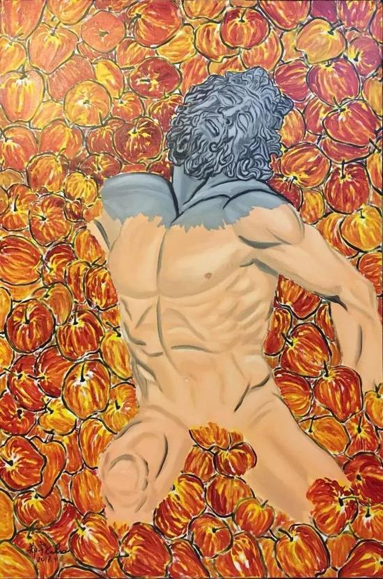 中国艺术家郑宇的作品《拉奥孔与苹果》。