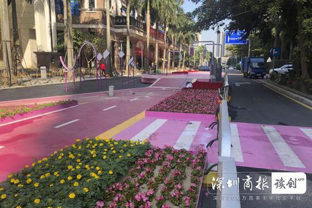 路面刷成粉红色市民吐槽刺眼 官方:恢复原样