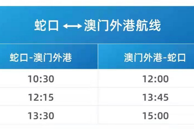 深圳蛇口至澳门客运航线明日起复航