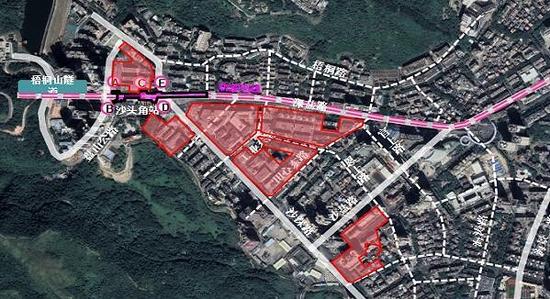盐田区田心工业区片区重点更新单元拆除范围示意图