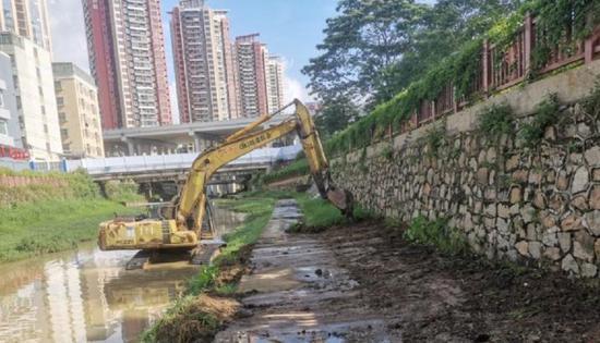 梧桐山河(试点段)碧道项目正在加紧建设。