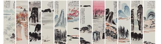 齐白石 山水十二条屏 北京保利十二周年秋拍 成交价:RMB 9.315亿元 创齐白石个人拍卖及中国书画拍卖全球纪录