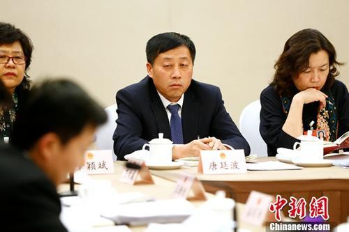 3月12日,十三届全国人大一次会议辽宁省代表团在北京举行小组会议,审议全国人大常委会工作报告。中新社记者 富田 摄