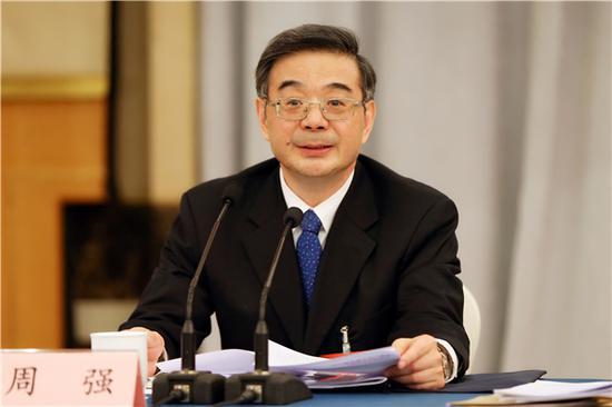 图为 周强在参加河南代表团审议时发言。孙若丰 摄