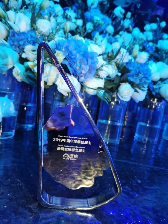 """图1:""""2019中国年度最佳雇主—最具发展潜力雇主""""奖项"""