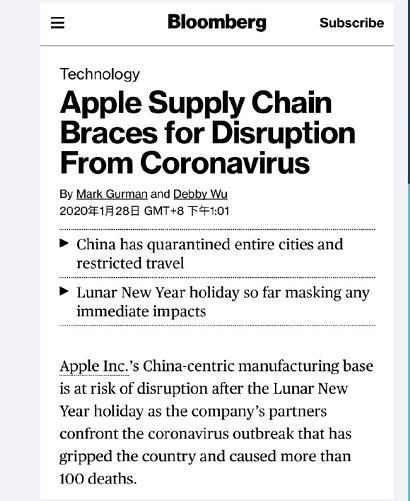 彭博社:受新型冠状病毒影响 Apple新款产品或将推迟