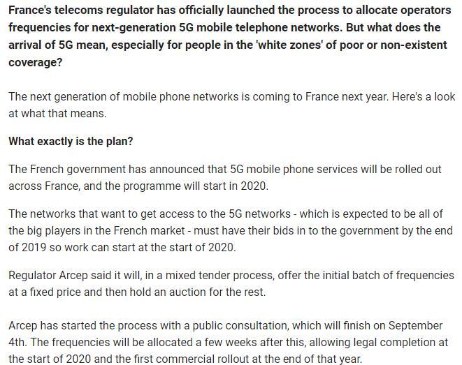 法国5G频谱分配公示:必须允许4家以上运营商竞争