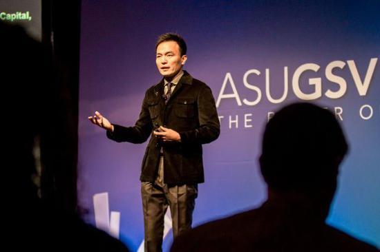 图 | 松鼠AI智适应教育创始人栗浩洋发表演讲