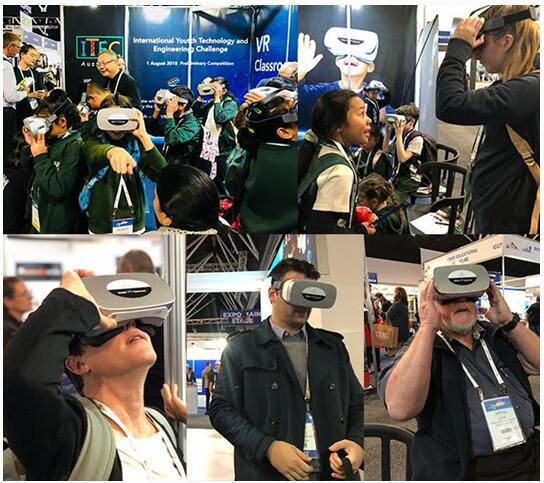 图一:澳洲教育界人士使用Pico Goblin体验VR教育内容