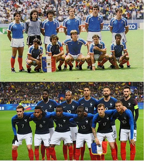 对比1986年和2018年的法国国足,球员们肤色明显变深了。