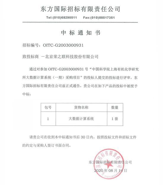 荣联科技成功中标中国科学院上海有机化学研究所大数据计算系统项目