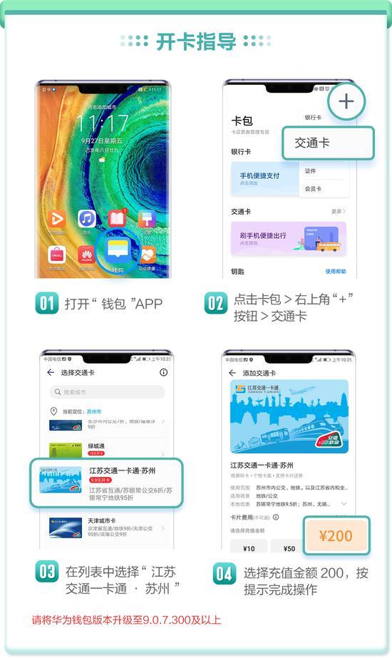 充200享0元开通Huawei Pay江苏交通一卡通·苏州,刷手机无接触乘车更安心