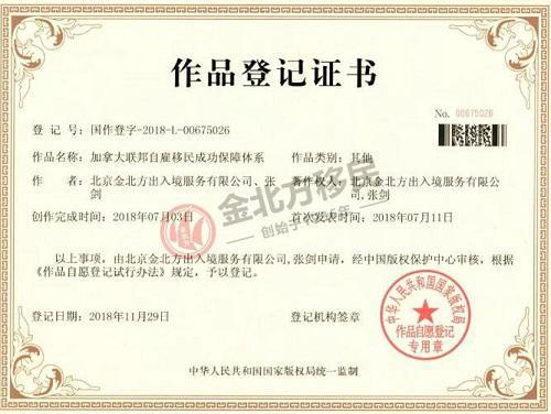 金北方移民联邦自雇移民独家国家版权证书