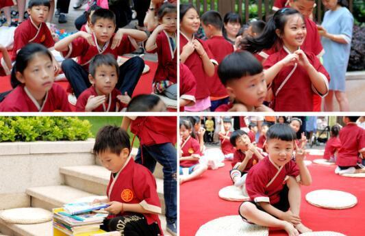 (图注:孩子们学习国学知识和文明礼仪)