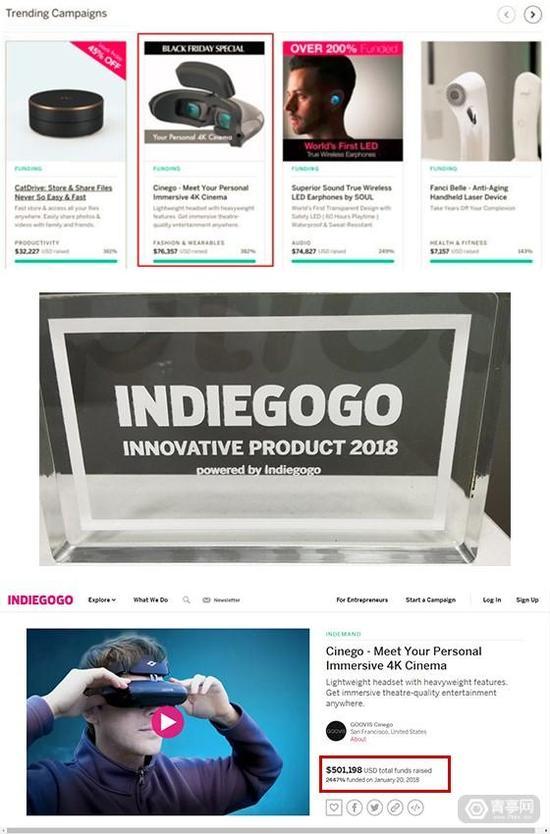 GOOVIS Cinego于Indiegogo众筹成功 金额近50万美元