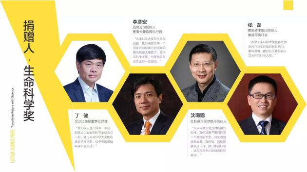 """""""生命科学奖""""捐赠人为丁健、李彦宏、沈南鹏、张磊;"""