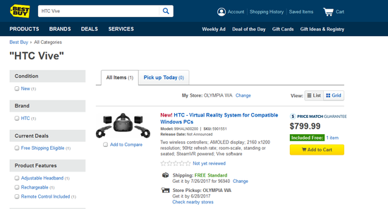 <b>HTC Vive登陆沃尔玛、百思买等在线销售渠道</b>