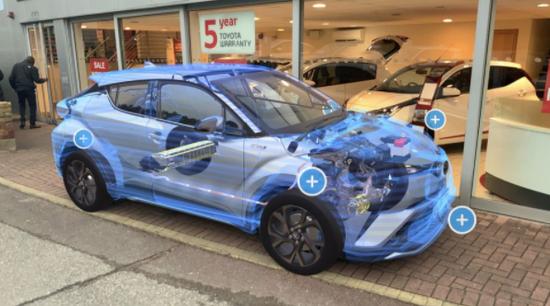 """丰田汽车展厅使用AR技术让顾客""""看到""""汽车内部"""