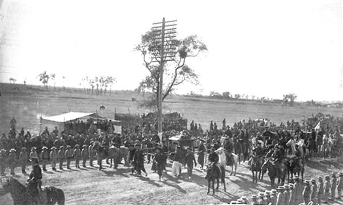 日俄战争后,加强东三省的防务清廷新军开进满洲