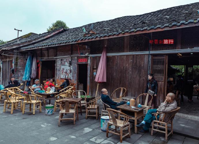 成都彭镇老茶馆我十年前去过,今年再去街道已经面貌全非