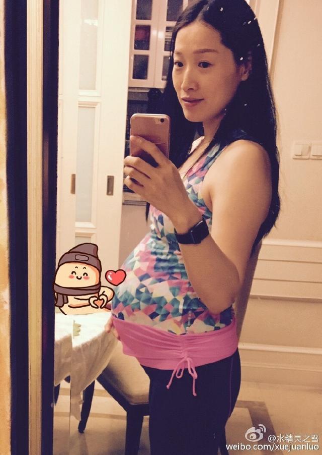 罗雪娟晒大肚孕装泳衣照 预产期临近声称仍要坚持继续游泳