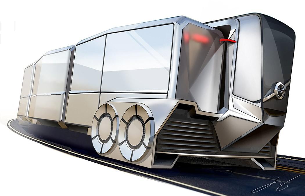 沃尔沃自动驾驶卡车AT404整个车身由几个部分组成:司机所在的前舱区域是一个独立的空间,而传统卡车后车厢将会被一组通过电磁技术连接的模块化货舱代替。每个货舱都将装备有完全独立的自动驾驶系统,可以随时与主体卡车衔接和分离,根据货舱所要到达的目的地,各自调整路线。 设计师:Daesoon Hwang