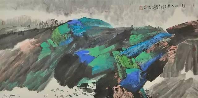 张江 重彩山水:色彩丰富多变 笔墨意境深远
