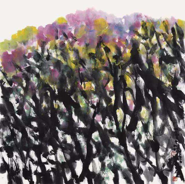 羽空花放之一纸本彩墨69x69cm2017