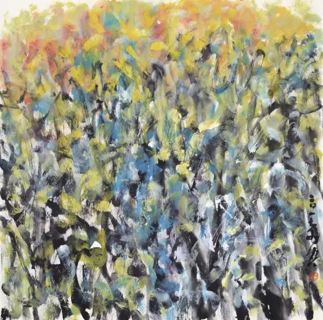 羽空花放之二纸本彩墨69x69cm2017