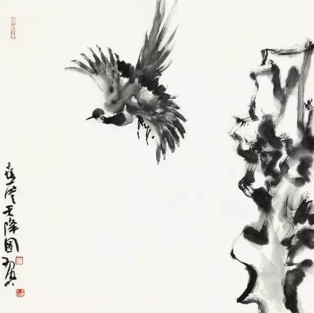 羽空飞鸟集之三纸本水墨69x69cm2017