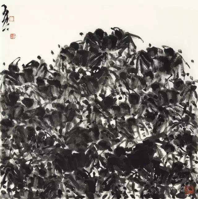 羽空金山银山之一纸本水墨69x69cm2016