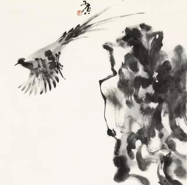 羽空飞鸟集之一纸本水墨69x69cm2017