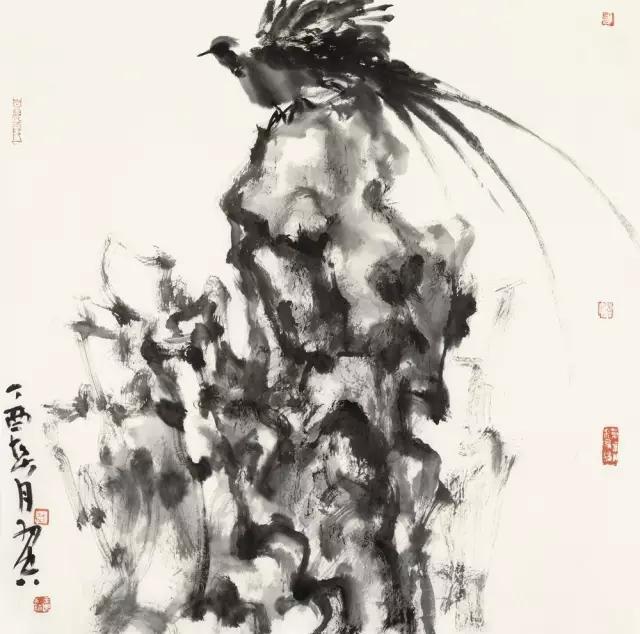 羽空飞鸟集之四纸本水墨69x69cm2017