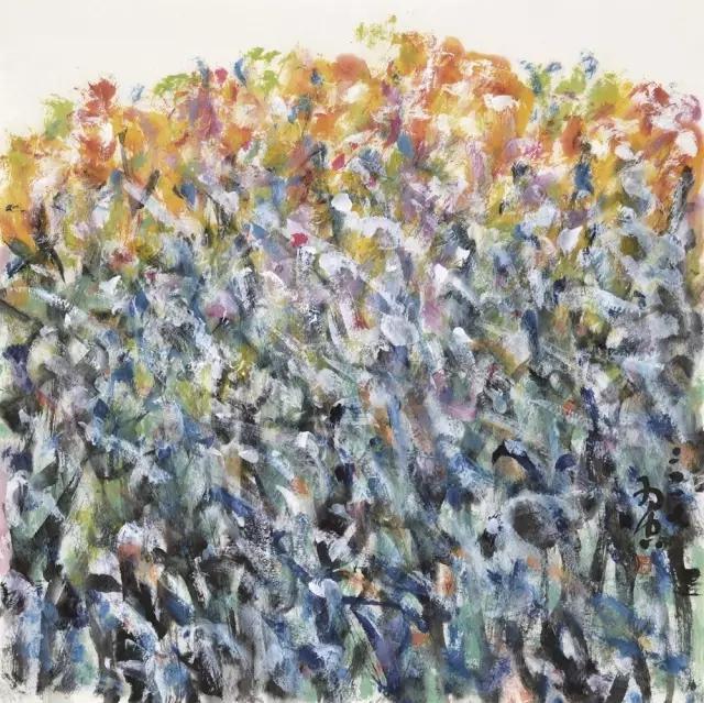羽空花放之三纸本彩墨69x69cm2017