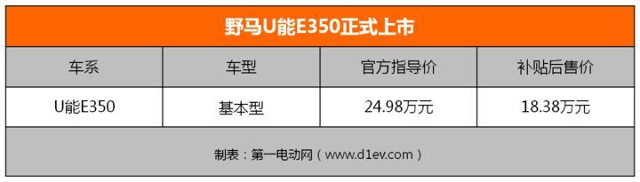 配置12.1寸大屏 野马U能E350上市补贴前24.98万元