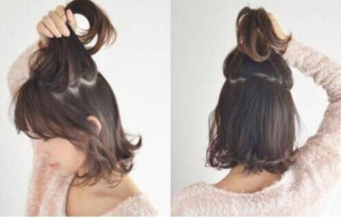 齐肩短发半丸子头扎法发型 让你的少女心爆棚