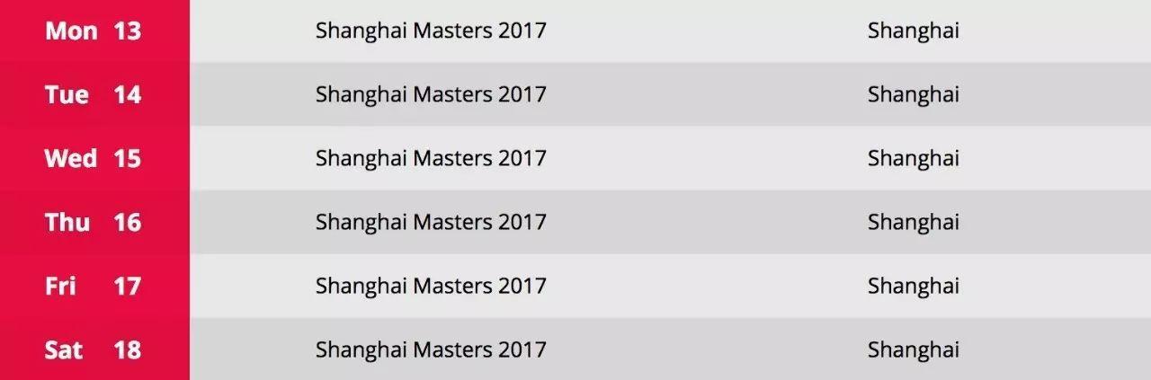 上海大师赛回归 定档11月13—18日依旧是排名赛