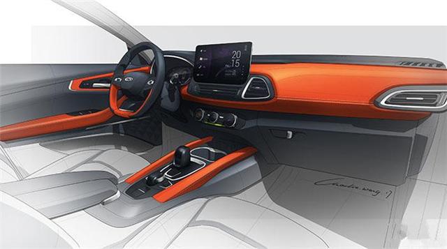 通过内饰的手绘图可以看出,奇瑞m31t车型的内饰则采用了双色设计,车内