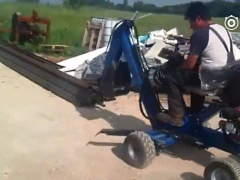 手工打造<em>四轮驱动</em>挖掘机,这技术屌爆了