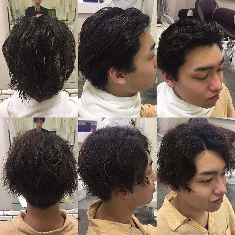 纹理男生打理发型,这样烫的男生好烫发多了发型斜刘海头发容易弯图片