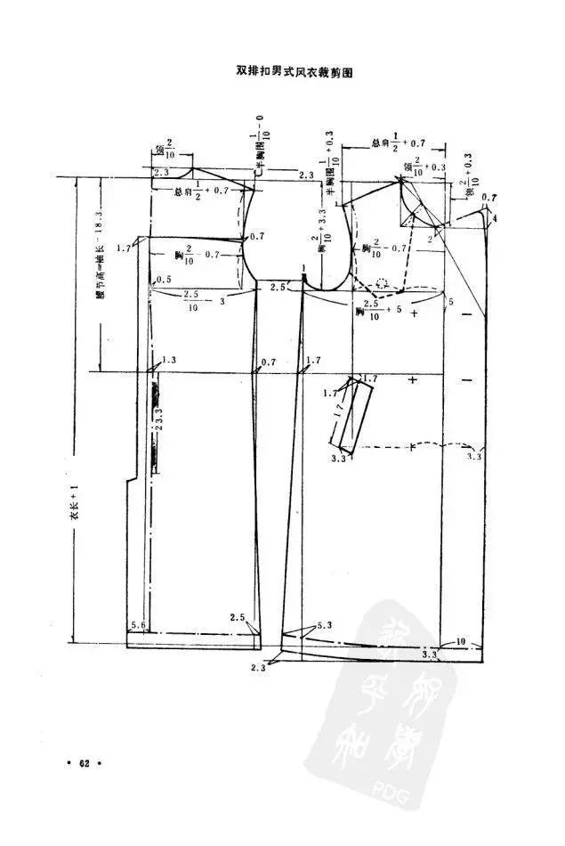 风衣大衣裁剪图:7款不同风格的风衣样式裁剪图