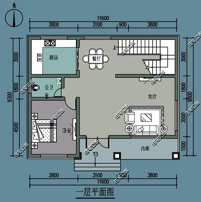 我们先来看看原平面图,布局中规中举,一层大客厅,一个老人房,厨房餐厅