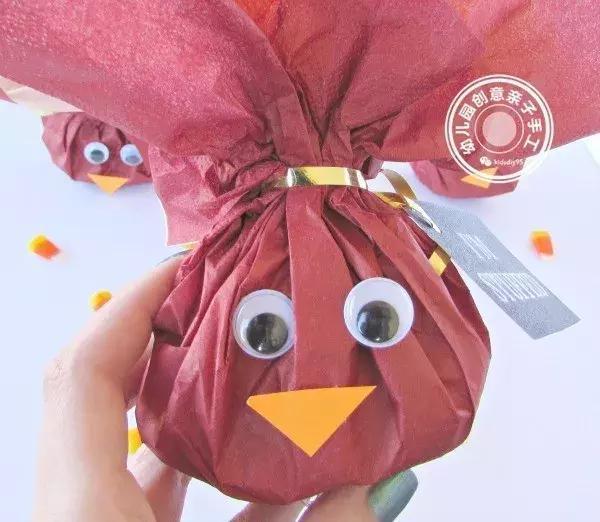 幼儿园皱纹纸教程:感恩节火鸡手工提前学啦!五分钟孩子可搞定