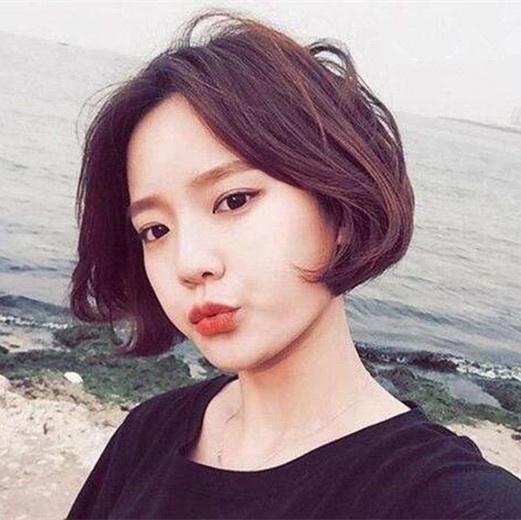 中分短发烫发韩范图片全是韩国姐大爱款
